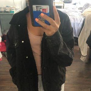Black denim jacket with fuzzy inside